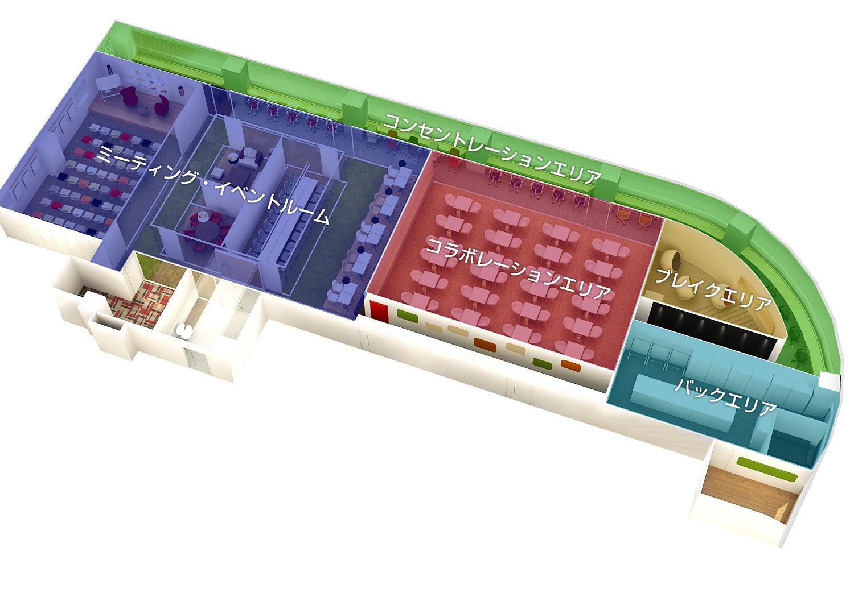 ライブラリー 書籍コーナー シェアオフィス無料本 コワーキングスペース読書 シェアオフィス読書 パース 鳥瞰図